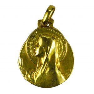 Emile Dropsy 18ct Gold Virgin Mary Pendant