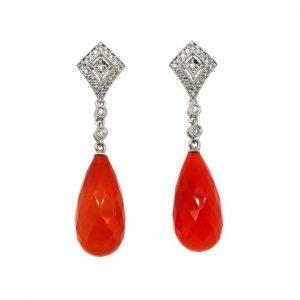 Carnelian and Diamond Drop Earrings