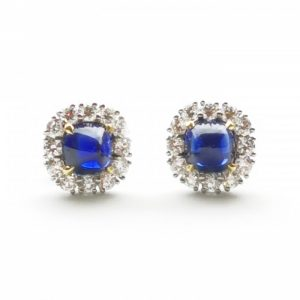 Sapphire and Diamond Cluster Stud Earrings, 2.83 carats Certified