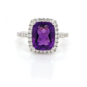 Cushion Cut Amethyst and Diamond Cluster Ring, 2.92 carats