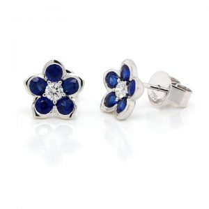 Sapphire and Diamond Flower Cluster Stud Earrings in 18ct White Gold