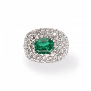 Emerald and Diamond Bombe Cluster Ring, 6 carats