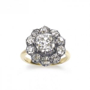 Old Cut Diamond Cluster Ring with Certificate, 2.44 carats