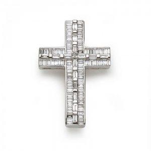 Baguette Cut Diamond Cross Pendant, 0.72 carat total