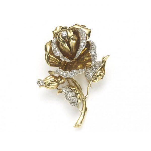 Vintage Diamond and Gold Rose Flower Brooch