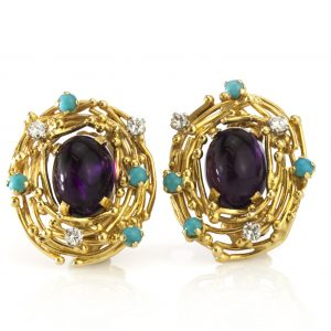 Vintage Amethyst, Turquoise and Diamond Earrings by Alan Martin Gard; 18ct yellow gold ladies clip-on earrings set with central oval cabochon amethysts accented with turquoise and diamonds, Made in London 1966