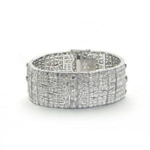Art Deco Diamond Bracelet in Platinum, 23 carats