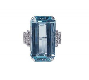 Art Deco 25ct Aquamarine and Diamond Dress Ring in Platinum