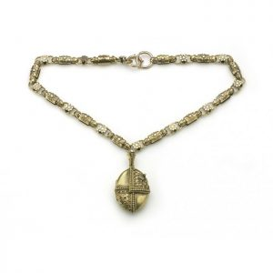 Antique Victorian Etruscan Revival Gold Necklace and Locket, Circa 1880