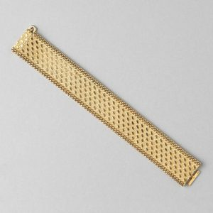 Vintage Georges Lenfant Gold Bracelet, 18ct yellow gold flat mesh woven bracelet with textured geometric design and polished braided border, France, Circa 1970