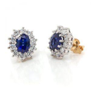 Sapphire and Diamond Oval Cluster Stud Earrings, 2.77 carats