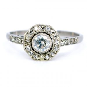 Art Deco Style Diamond Target Cluster Ring