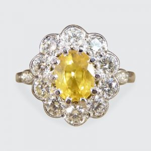 Edwardian Style Yellow Sapphire and Diamond Cluster Ring