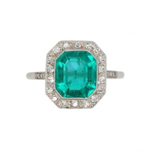 Art Deco Colombian Emerald and Diamond Cluster Ring, 2.70cts Certified