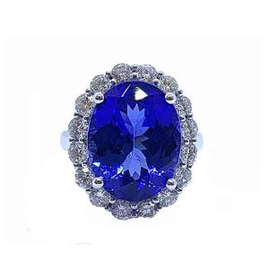 Large Natural Tanzanite and Diamond Cluster Ring, 10.10cts