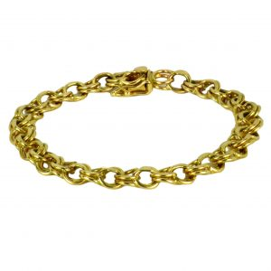 Yellow Gold Double Parallel Curb Link Bracelet