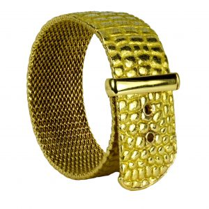 Tiffany and Co 18ct Yellow Gold Crocodile Buckle Bracelet by Angela Cummings; designed as articulated crocodile skin strap with mesh base and buckle closure, Signed