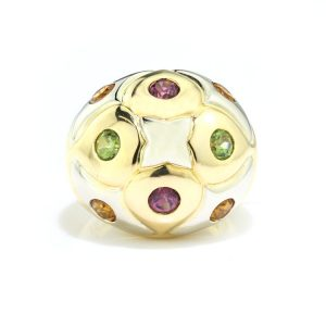 Bvlgari Multi Gemstone and 18ct Gold Domed Cocktail Ring; set with citrine, amethysts and garnets, with original box. Made in Italy, Circa 1990s