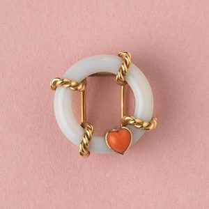 Vintage Cartier Agate Buoy Ring with Coral Heart Brooch