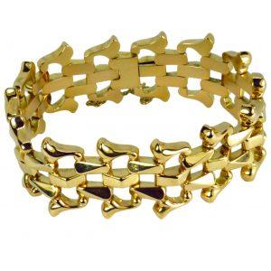 Retro 18ct Yellow Gold Brick Link Bracelet