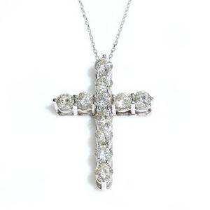 Tiffany and Co Diamond Cross Pendant with Box, 2.20 carats