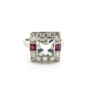Aquamarine, Ruby and Diamond Cluster Ring in Platinum, 1.30 carats