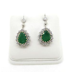 Pear Cut Emerald and Diamond Cluster Drop Earrings