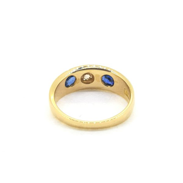 Antique Victorian Sapphire and Diamond Three Stone Ring in 18ct Yellow Gold