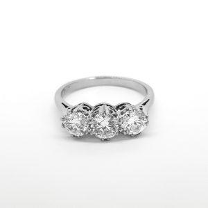 Diamond Three Stone Ring, 1.90 carats G Colour