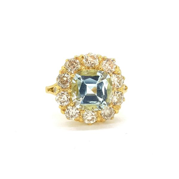 2.50ct Aquamarine and Diamond Cluster Ring in 18ct Yellow Gold