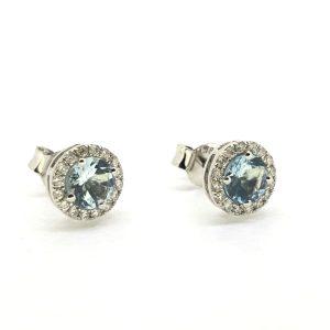 Aquamarine and Diamond Cluster Stud Earrings, 0.85 carats