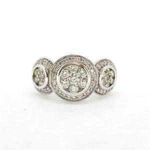 Diamond Triple Cluster Ring, 1.50 carat total