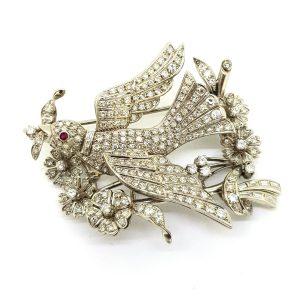 Entremble Diamond Bird Brooch, 5.00 carat total
