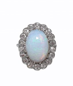 Antique Art Deco Opal and Diamond Cluster Ring, Oval Shape