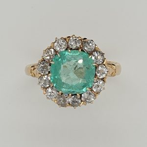 Antique Victorian 1.30ct Emerald and Diamond Cluster Ring