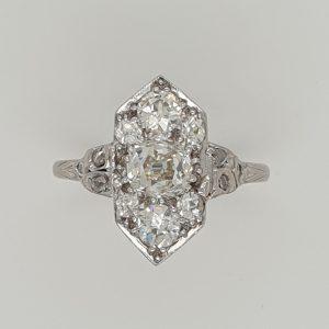 Art Deco Antique 1.35ct Old Mine Cut Diamond Ring