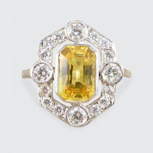 Art Deco Style 1.25ct Yellow Sapphire and Diamond Geometric Halo Ring