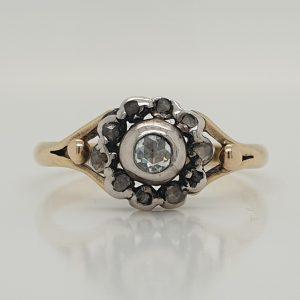 Georgian Antique Rose Cut Diamond Cluster Ring