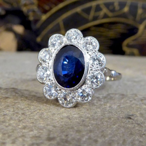 Modern 2.07ct Sapphire and Diamond Cluster Ring