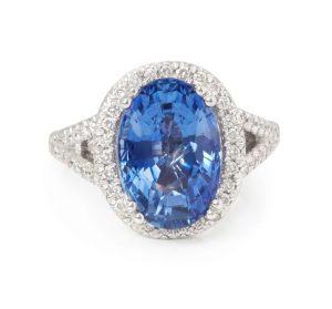 Natural 7 Carat Ceylon Sapphire and Diamond Engagement Ring