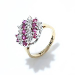 Vintage Ruby and Diamond Cluster Dress Ring