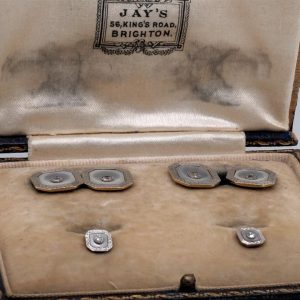 Art Deco Mother of Pearl and Diamond Cufflink and Stud Set