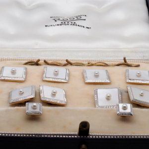 Art Deco Mother of Pearl and Seed Pearl Cufflink and Stud Dress Set