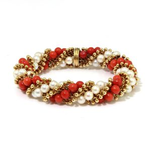 Van Cleef and Arpels 18ct Gold, Coral and Pearl Bead Twirl Bracelet