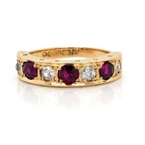Vintage Ruby and Diamond Seven Stone Ring in 18ct Yellow Gold