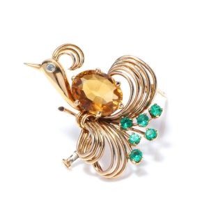 Art Deco Peacock Brooch with 4ct Citrine, Diamond and Emeralds