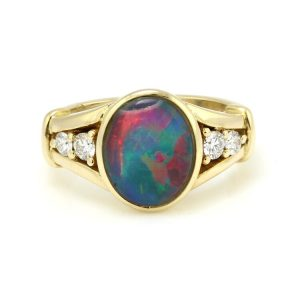 Vintage Black Opal and Diamond Ring by Charles Grieg