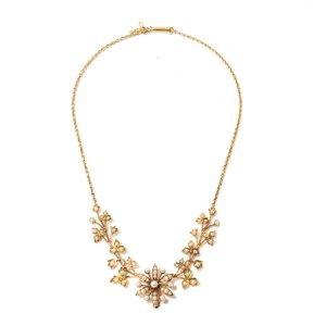 Antique Edwardian 15ct Gold and Seed Pearl Floral Cluster Necklace