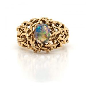 Vintage Ornate 18ct Yellow Gold and Black Opal Dress Ring