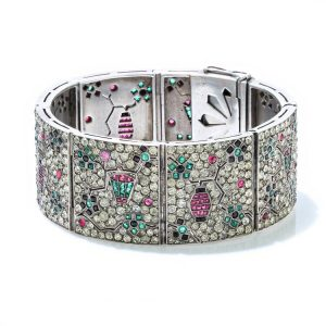 Art Deco Silver Bracelet with Rubies, Emeralds, Sapphires and Paste